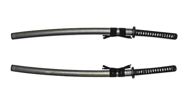 フルブレードの鞘付き赤刃日本刀黒コード。