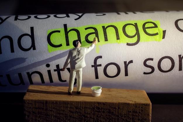 変更と挑戦のコンセプト。ミニチュア・フィギュア・ペインティング・グリーン・カラー・テキスト