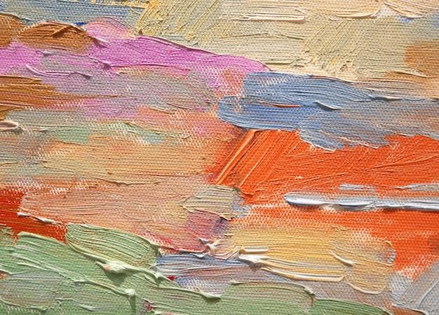 カラフルなアクリルブラシストロークの抽象的な背景。