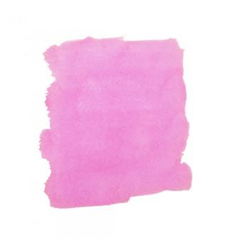 カラフルなピンクの水彩背景。白い背景の明るいブラシストローク。