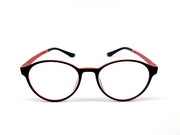 赤 - 黒の色の眼鏡は、白い背景にモデルのアイコンのために分離。