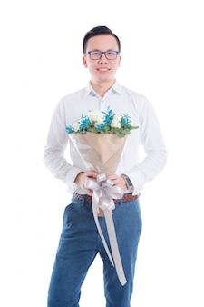 花を持って若いアジア人の肖像画