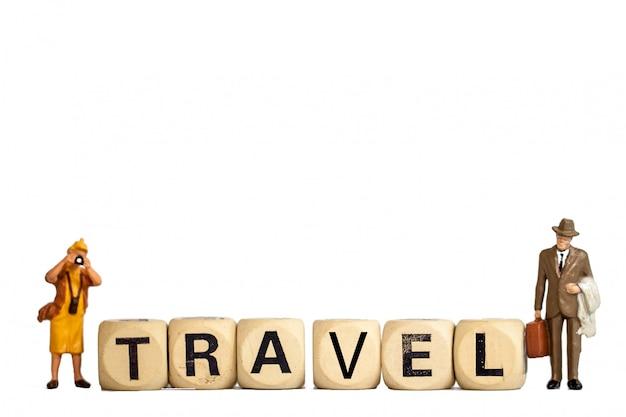 モデルグッズ旅行女と男の白背景