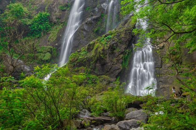 クローンラン国立公園の深い森の中の美しい滝