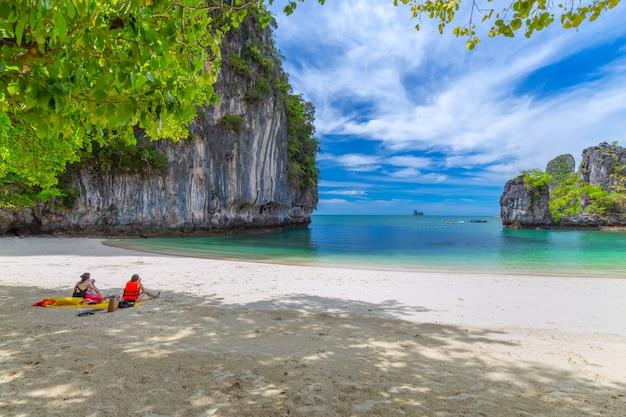 美しい熱帯の砂浜と熱帯の島の緑豊かな葉