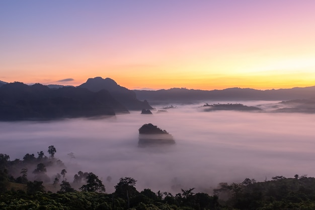 Вид на горы и красивый туман фу лангка, таиланд