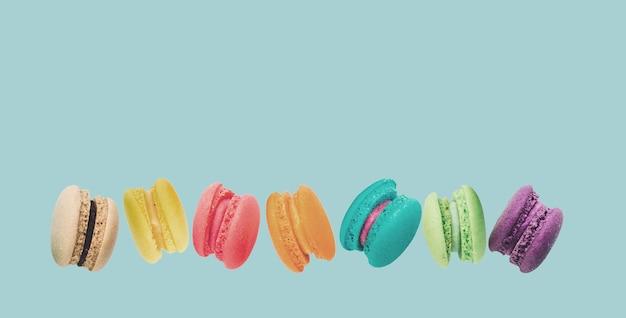 フランスの甘い珍味、マカロンの様々な接写