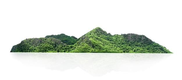 Рок горный холм с зеленым лесом изолировать на белом