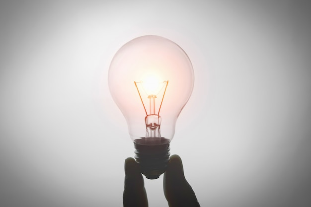 白い背景の上の電球分離を持っている手