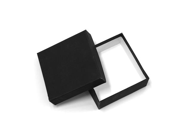 Черная пустая коробка на белом фоне.