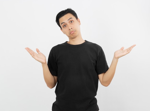 疑問ジェスチャーを作る若いハンサムなアジア人