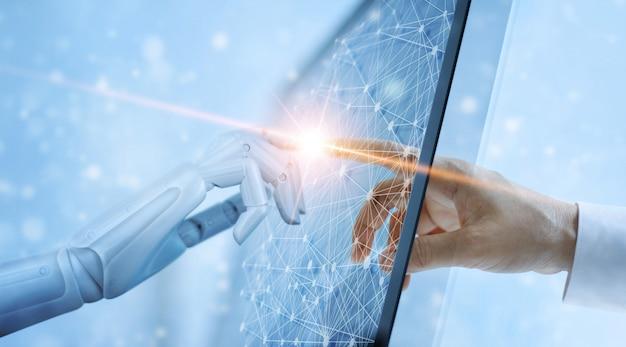 Руки робота и человека касаясь глобальному виртуальному сетевому соединению будущего интерфейса.