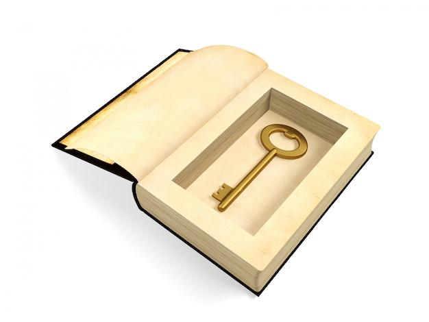 Раскрытая старая бумажная книга с ретро золотым ключом спрятанным внутри, концепцией секретности