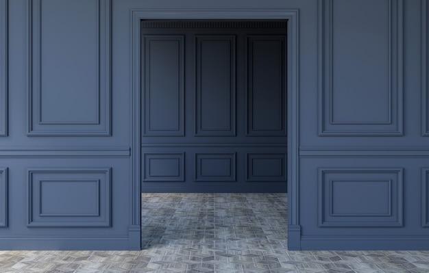 モダンなクラシックデザインの豪華な空の部屋のインテリア