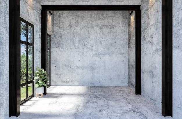 Современный и пустой бетонный зал