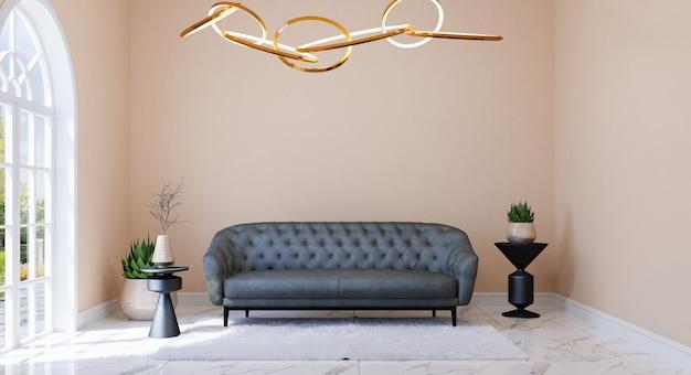 Интерьер современной классической гостиной с мебелью