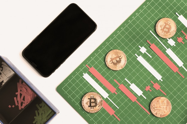 ローソク足チャートはスマートフォンでグリッド線とグリーンボード上のカラーペーパー白と赤から作る