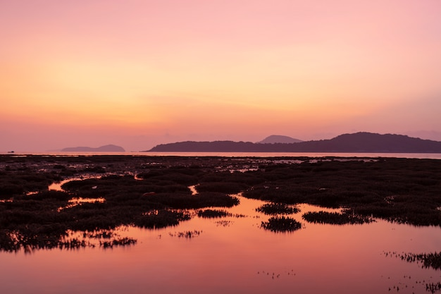 日の出風景と海の美しい反射でサンゴ礁と劇的な空の海の風景
