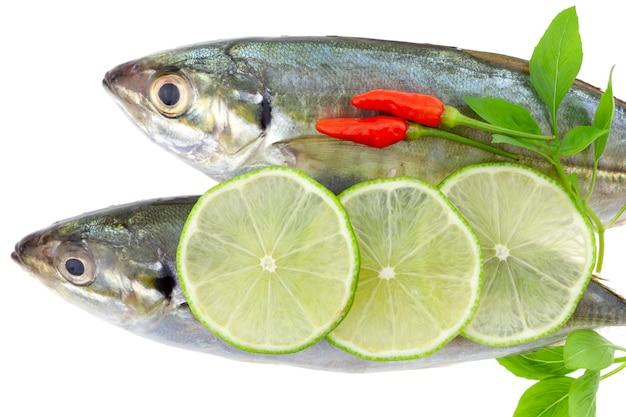 新鮮な魚のレモンと白い背景で隔離の葉