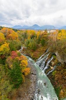 秋の美しい白い滝