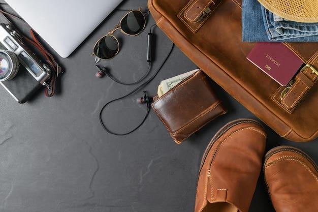 旅行用アクセサリー - ヴィンテージバッグとレザーシューズ
