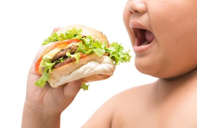 ハンバーガー、肥満脂肪男の子の手