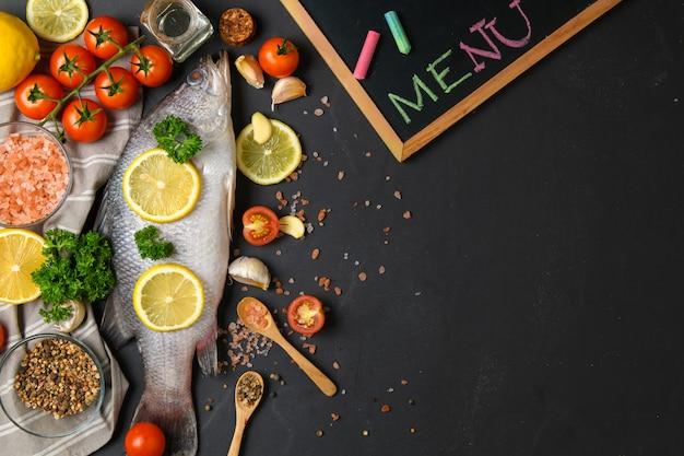 新鮮な魚のシーバスと料理の食材