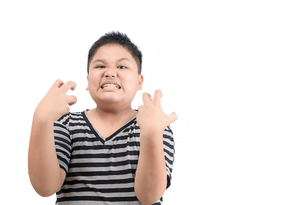 白い背景上に分離されて怒っている肥満脂肪少年