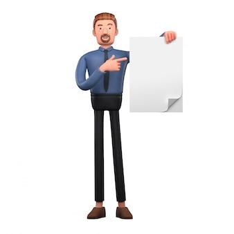 Красивый мультфильм деловой человек держит пустой документ
