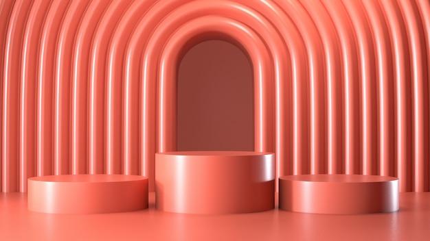 Визуализация изображения абстрактного розового цвета геометрического дисплея подиума или витрины