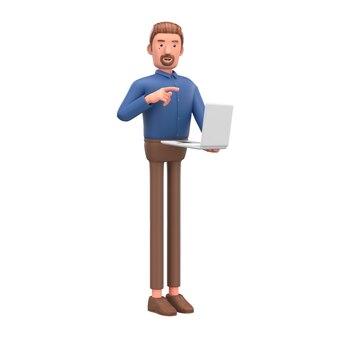 Портрет красивый мультипликационный персонаж с ноутбуком.
