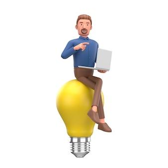 Бизнесмен с желтой лампочкой. концепция инноваций и вдохновения.