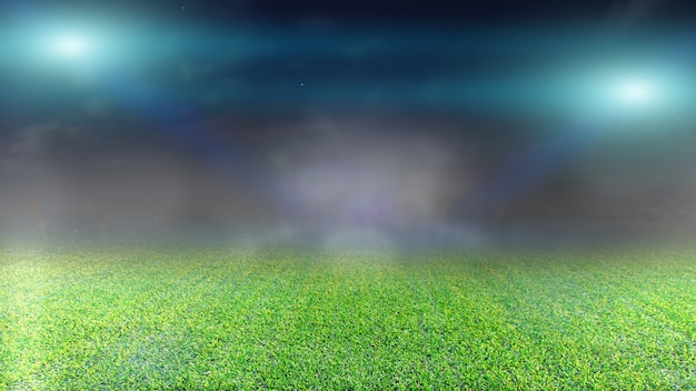 サッカー場と明るいスポットライト。
