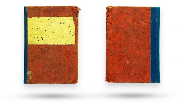 古い本をカバーする赤いキャンバスの表と裏