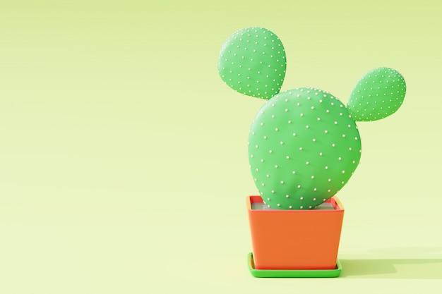明るい緑の背景の植木鉢のクローズアップサボテン