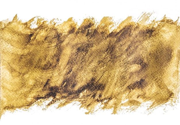 黄金の水彩の背景、紙の手描き