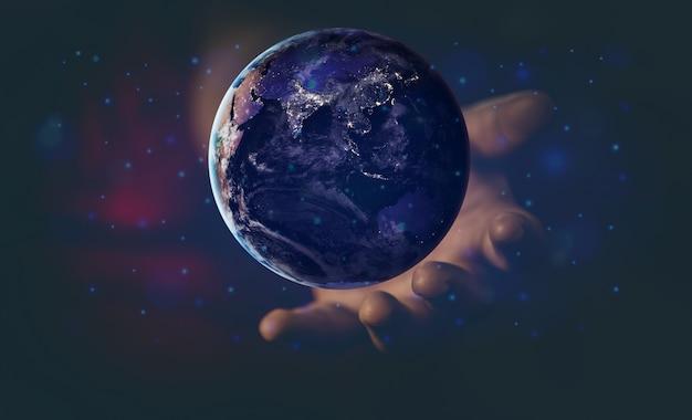 エネルギーとエコロジーの概念、飛んでいる地球を持っている人間の手