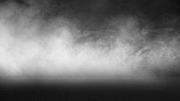 空の暗い部屋抽象的な霧の煙輝きの壁と床のインテリアディスプレイ