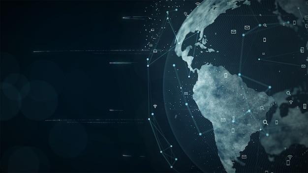 Растущая концепция глобальной сети и передачи данных. сеть данных научных технологий.