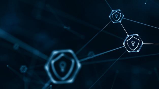 インターネット技術ネットワークとサイバーセキュリティコンセプト。