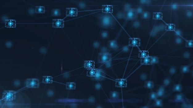 ブロックチェーンネットワークの概念。アイソメトリックデジタルブロックスクエアコードビッグデータ接続。