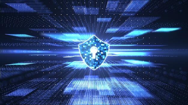 サイバーセキュリティの概念抽象的なブロックチェーンビッグデータデジタルの鍵穴のアイコンとシールドします。