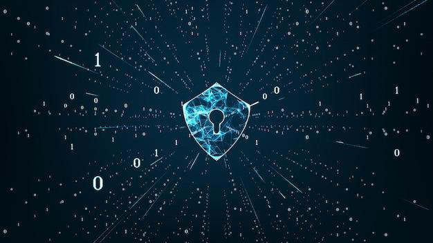 データ保護サイバースペースの盾アイコンとサイバーセキュリティの概念。