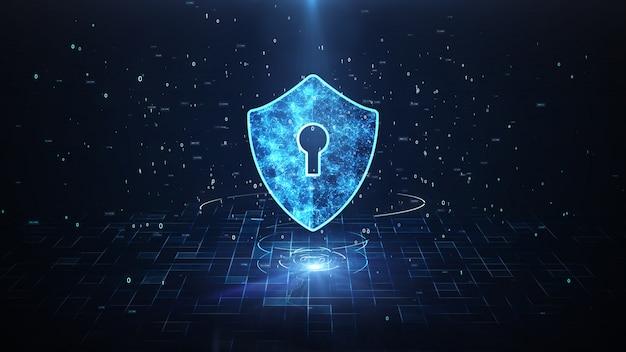 Значок щита в киберпространстве. защита от кибер-атак для подключений по всему миру