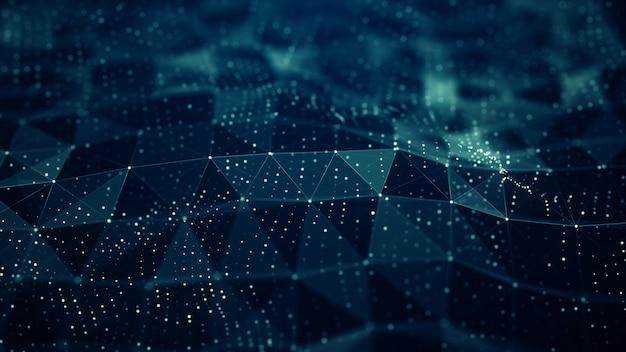 抽象的な神経叢デジタル青い色波形の背景