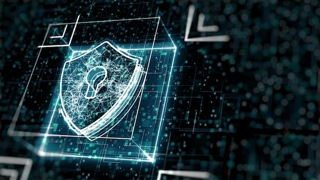 抽象的なサイバーセキュリティの概念。デジタルデータの背景に鍵穴のあるシールドアイコン。