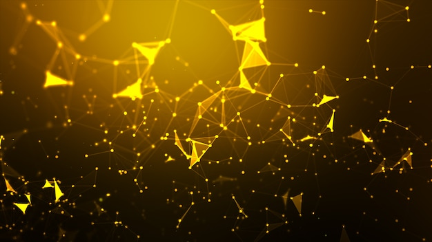 Абстрактный фон точка и подключение линии для кибер-технологии футуристический и концепция сетевого подключения каркас