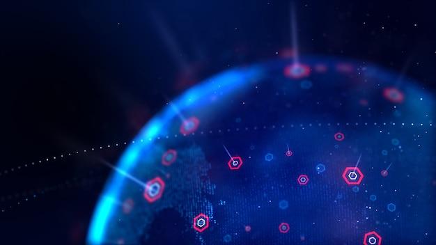 サイバー未来概念の浅い被写し界深度の六角形の抽象的な背景ドットブルー世界地図