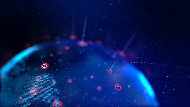 Карта мира абстрактный точка синий с шестиугольной формы для кибер-футуристической концепции малой глубины резкости