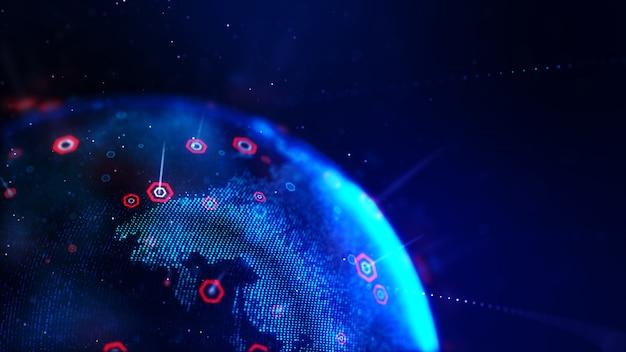 サイバー未来概念浅い被写し界深度の六角形の抽象的なドットブルー世界地図